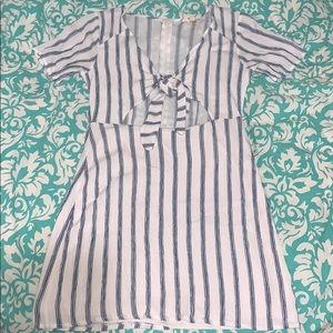 PacSun blue and white striped tie front dress